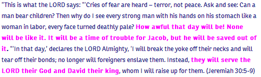Jeremiah ch 30 verse 5-9