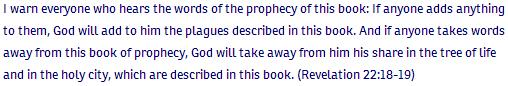 Revelation ch 22 verse 18-19