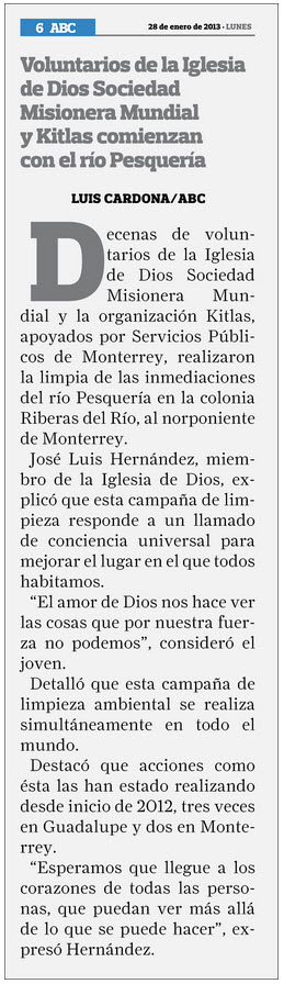 Newspaper: ABC De Monterrey / Date: January 28, 2013